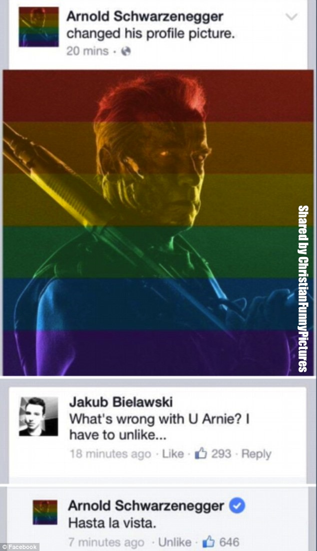 arnold schwarznegger facebook profile same sex
